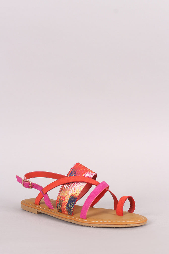 21031c0336d Bamboo Colorblock Strappy Toe Ring Slingback Flat Sandal – fashion-12128