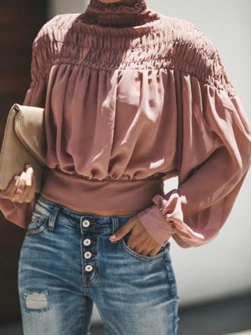 3 Colors Chiffon Long Sleeve Blous&shirts Tops