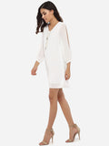 ByChicStyle Loose Fitting V Neck Dacron Hollow Out Plain Shift-dress - Bychicstyle.com