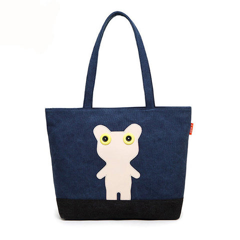 Casual Girl Cute Sweet Canvas Cartoon Handbag Women Large Capacity Shopping Shoulder Bag