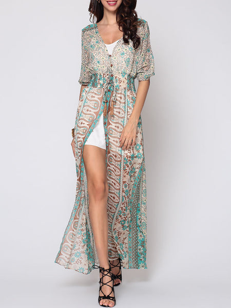 Bohemian Split Chic V Neck Maxi-dress - Bychicstyle.com