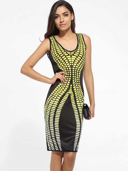 Scoop Neck Dacron Printed Bodycon Dress - Bychicstyle.com