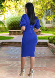 ByChicStyle Blue Zipper Ruffle Bodycon Band Collar Elegant Party Midi Dress