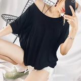 Black Cut Out Backless One-shoulder Short Sleeve Oversized Casual T-Shirt