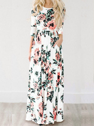 Streetstyle  Casual Ecstatic Harmony White Floral Print Maxi Dress