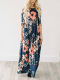 ByChicStyle Casual Ecstatic Harmony Navy Blue Floral Print Maxi Dress
