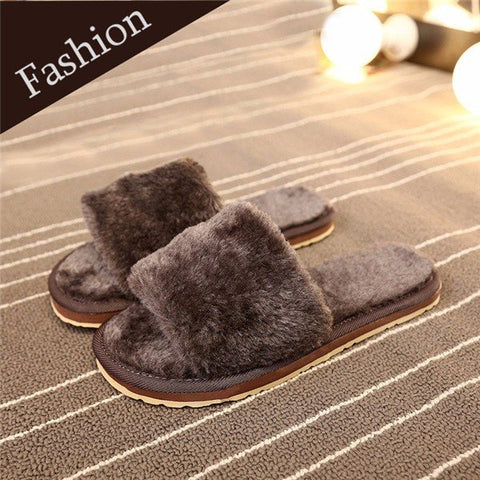 Casual Furry Peep Toe Warm Floor Indoor Flat Slip On Slippers