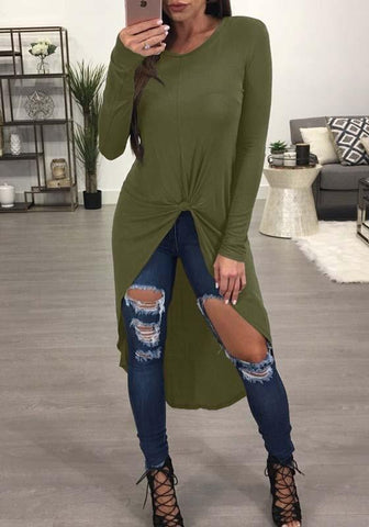 Army Green Irregular Round Neck Fashion Blouse