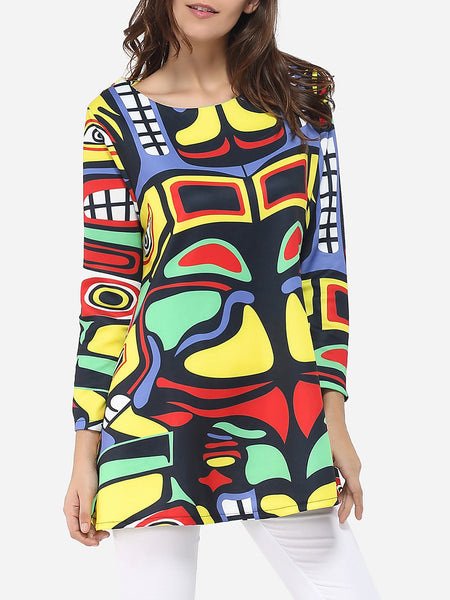 Round Neck Dacron Assorted Colors Color Block Printed Long-sleeve-t-shirt - Bychicstyle.com