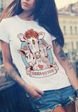 ByChicStyle White Unicorn Print Round Neck Short Sleeve T-Shirt