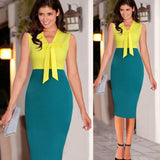 ByChicStyle Yellow Patchwork Bow Zipper V-neck Fashion Midi Dress