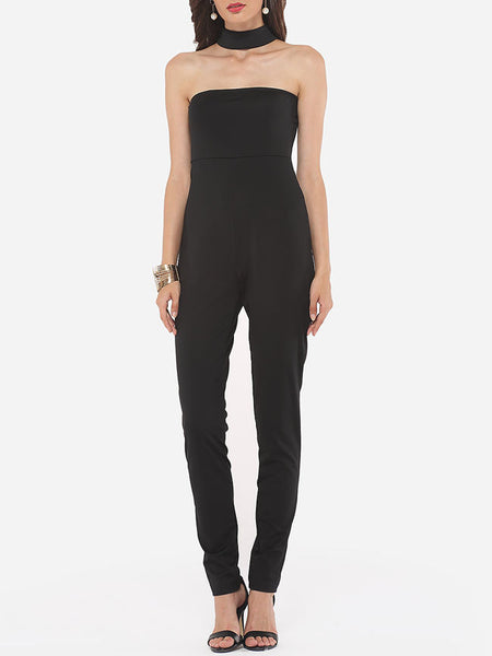 Casual Plain Zips Elegant Courtly Awesome Jumpsuits