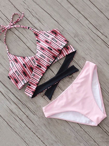 Casual Pink Romance Floral Print Cross High Waist Bikini Set