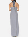 ByChicStyle Cross Straps Halter Dacron Stripes Maxi Dress - Bychicstyle.com