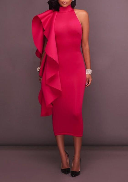 Red Ruffle Asymmetric Shoulder A-Line High Neck Elegant Party Midi Dress
