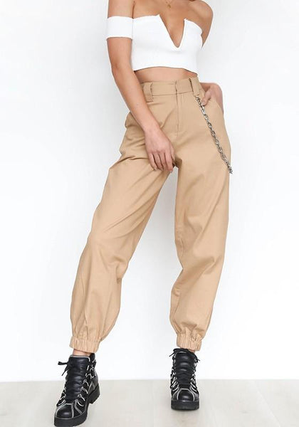 Khaki Chains Pockets Drawstring Zipper High Waisted Going Out Casual Long Pants