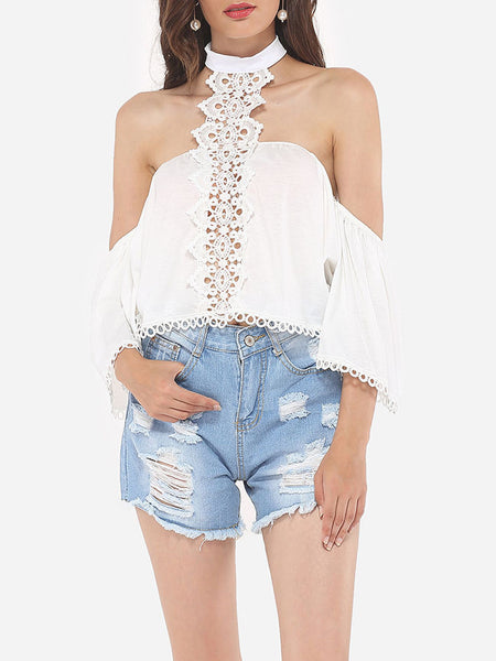 Hollow Out Patchwork Plain Loose Fitting Dramatic Awesome Halter Blouse - Bychicstyle.com
