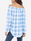 ByChicStyle Casual Pockets Single Breasted Off Shoulder Dacron Plaid Printed Blouse