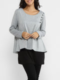 ByChicStyle Round Neck Patchwork Long Sleeve T-shirt - Bychicstyle.com