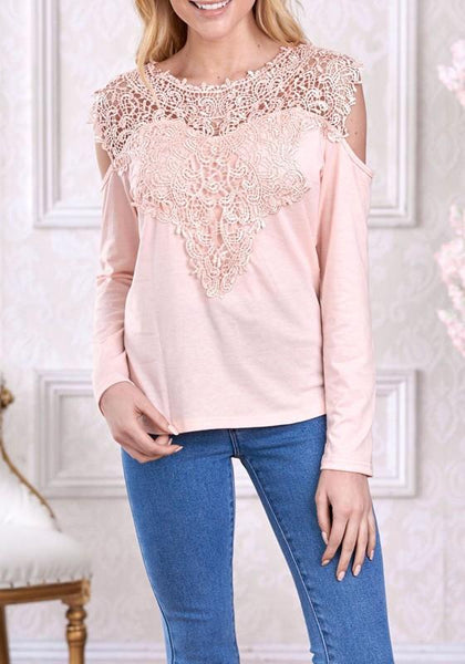 Pink Patchwork Lace Cut Out Sleeve Office Worker/Daily Elegant Blouse