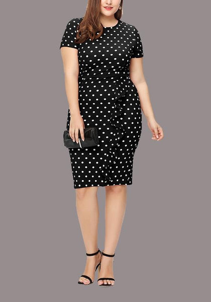 Black-White Polka Dot Ruffle Bodycon Plus Size Round Neck Elegant Party Midi Dress