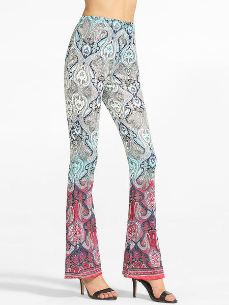 Printed Flared Casual-pants - Bychicstyle.com