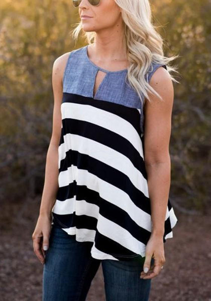 Blue Striped Cut Out Round Neck Fashion Vest