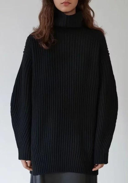 Black Band Collar High Neck Long Sleeve Pullover Sweater