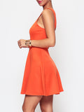 ByChicStyle Casual Plain Charming Crew Neck Skater-dress