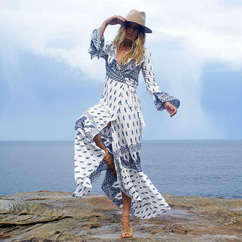 Summer Beach Dress Bohemian Wrap Dress Maxi Long Sleeve Dress