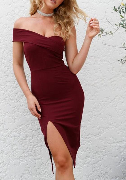 Burgundy Off Shoulder Backless Asymmetric Shoulder Slit Homecoming Party Club Bridemaids Midi Dress