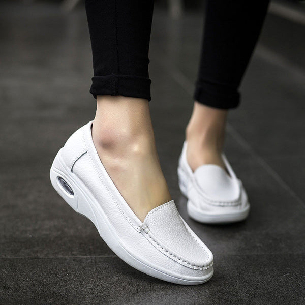 Casual White Leather Slip On Platform Breathable Nurse Shoes