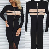 ByChicStyle Black Zipper Round Neck Long Sleeve Fashion Midi Dress