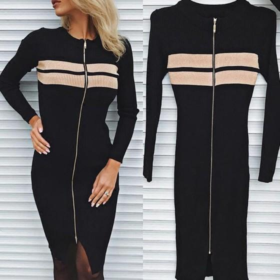 Black Zipper Round Neck Long Sleeve Fashion Midi Dress