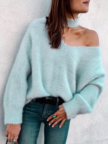 Fashion Solid Colors Off-the-shoulder Sweater Tops