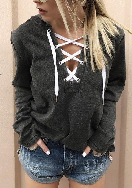 Black Drawstring Lace Up Hooded Long Sleeve Casual Pullover Sweatshirt