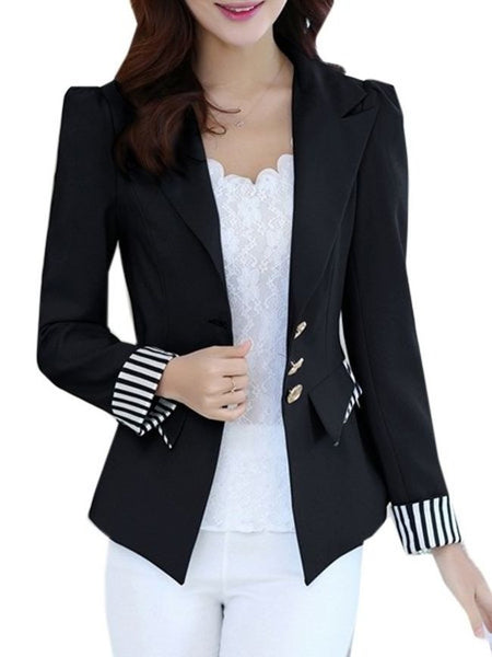 Patchwork Striped V Neck Blazers - Bychicstyle.com