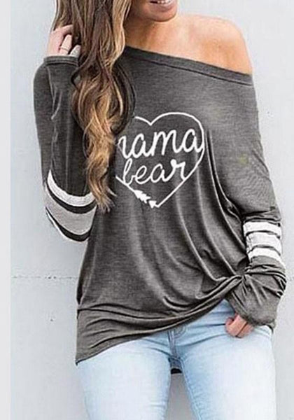 Grey Love Letter Asymmetric Shoulder Long Sleeve Casual T-Shirt