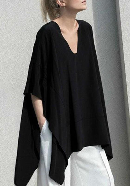 Black Draped Plus Size Batwing Sleeve V-neck Oversized Casual T-Shirt