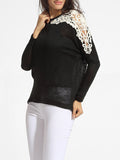 ByChicStyle Casual Round Neck Decorative Lace Patchwork Sweater