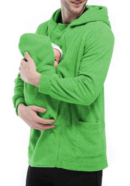 Green Multi-functional Kangaroo Baby Bags Hooded Long Sleeve Sweatshirt