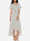 ByChicStyle Casual Asymmetrical Hems V Neck Dacron Printed Maxi Dress
