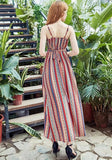 ByChicStyle Red Striped Print Spaghetti Strap Sashes V-neck Bohemian Beach Party Midi Dress