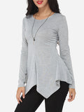 ByChicStyle Casual Plain Asymmetrical Hems Courtly Round Neck Long-sleeve-t-shirt