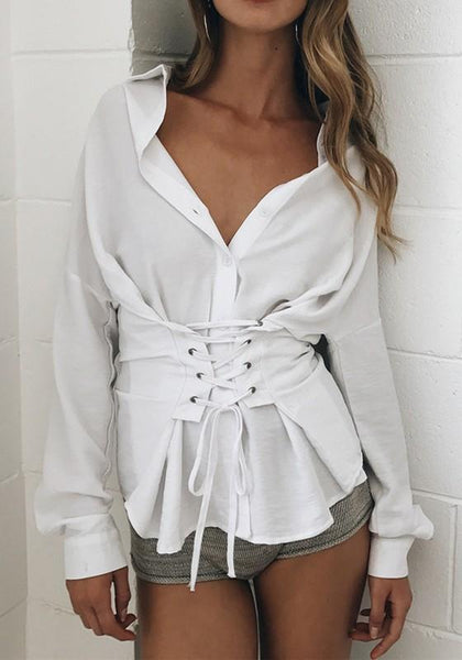 White Drawstring Buttons Turndown Collar Fashion Blouse