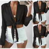 ByChicStyle Black Irregular Turndown Collar Long Sleeve Fashion Blouse