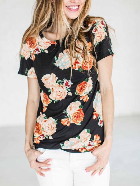 Casual Round Neckline Cute Little Floral Print Top