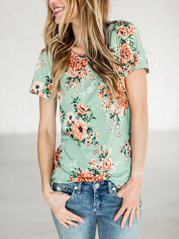 Casual Fashion Street Style Round Neckline Little Floral Print Top