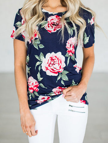 Casual Blooming Floral Print Round Neckline Top
