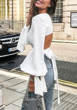ByChicStyle White Bow Tie Back Backless Round Neck Puff Sleeve Fashion T-Shirt